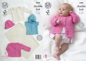 Blanket, Jacket, Gilet and Hat Knitting Pattern King Cole 4430, Prem to 12 months